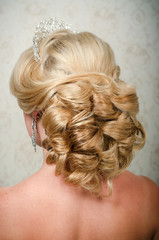 Beautiful bride and beautiful dress and hairstyle
