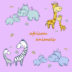 african animals with zebras and Hippo,giraffe2-01