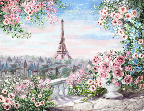 Oil Painting, summer in Paris. gentle city landscape. flower rose and leaf. View from above balcony. Eiffel tower, France, wallpaper. watercolor modern art