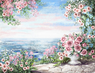 cute Oil Painting, summer, blue sea. gentle marine landscape. pink flower rose in vase and leaf. View on ocean. wallpaper. watercolor modern art.