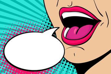 Sexy open female mouth screaming announcement and empty speech bubble. Vector bright background in comic retro pop art style.