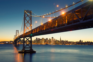 Bay Bridge, San Francisco Skyline, Downtown San Francisco, California, USA