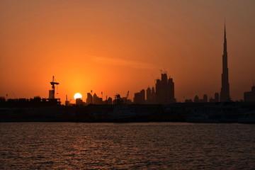 Dubai Ferry route at evening view, Dubai Canal, United Arab Emirates
