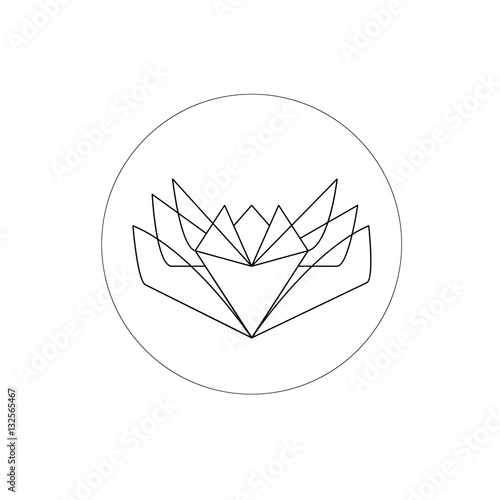 Lotus Flower Into A Circle Geometric Logo Element Vector Illustration In Thin Lines