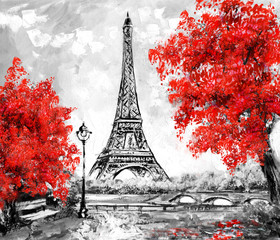 Oil Painting, Paris. european city landscape. France, Wallpaper, eiffel tower. Black, white and red, Modern art