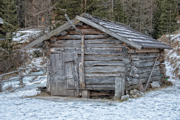 Old wood  mountain cabin hut door