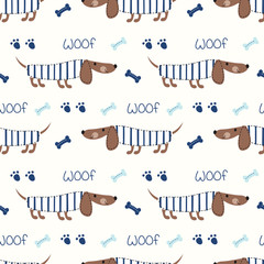 Seamless pattern with cute dogs and bones