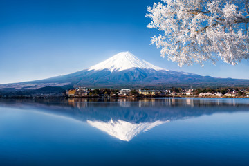 Wall Mural - Mt. Fuji und See Kawaguchiko in Japan im Winter