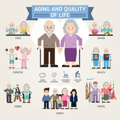 Quality of life in older ages. Senior man and woman activities. Senior citizen. Info-graphic inspire to drive your business project. Vector illustration.