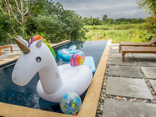 Unicorn swim tube on outdoor pool