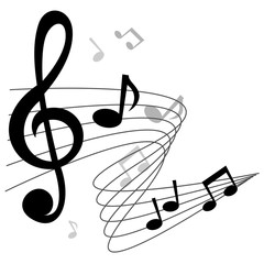 Music notes (chords) vector background design with treble clef.