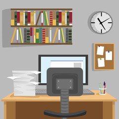 Designed modern workspace at home with desk, monitor, bookshelf, wallclock and pile of papers