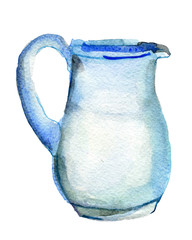 watercolor sketch of milk jug on white background