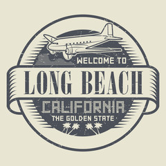 Stamp with airplane and text Welcome to California, Long Beach