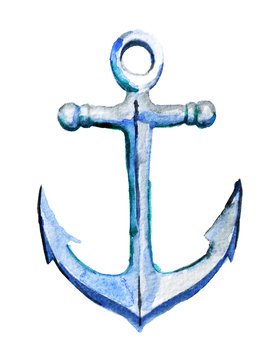 watercolor sketch of anchor on white background