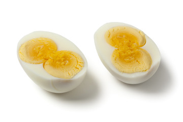 Peeled cooked double yolk egg
