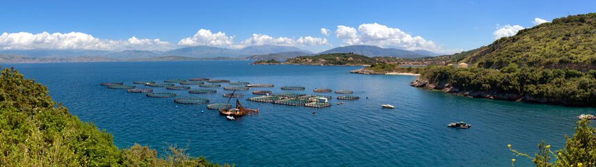 Panoramic view of fish farming near Kassiopi town. Corfu Island. Greece. Europe.