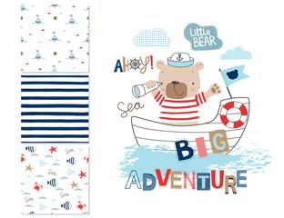 Sailor bear and 3 seamless patterns