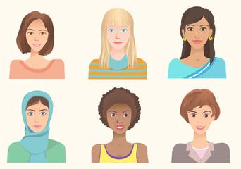 Young women of various nationalities.