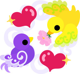 The cute little birds of mysterious design in love