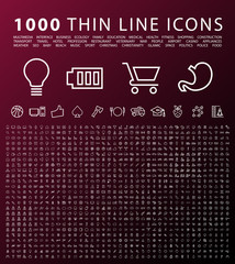 Set of 1000 Isolated Minimal Modern Simple Elegant Black Icons. Vector Elements on Dark Background.