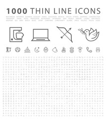 Set of 1000 Isolated Minimal Modern Simple Elegant Black Icons. Vector Elements on White Background.