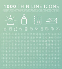 Set of 1000 Isolated Minimal Modern Simple Elegant Black Icons. Vector Elements on Green Background.