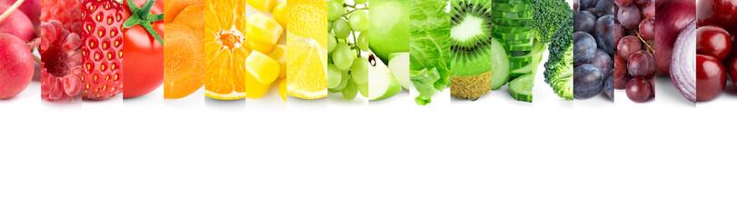 Keuken foto achterwand Verse groenten Collage of mixed fruits and vegetables