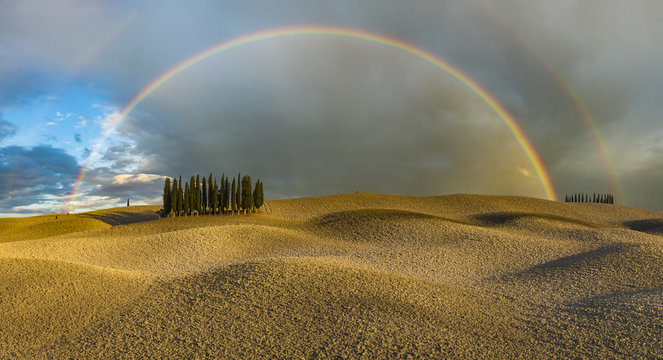 Scenic view of rainbow over field in autumn