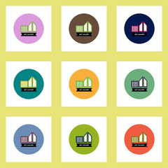 Collection of stylish vector icons in colorful circles building art gallery