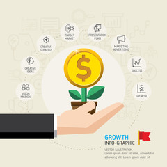 Business growth conceptual design. Businessman hand holding money Tree. Vector illustration. Can be used for marketing, business, graphic, web design, info graphics and timeline.