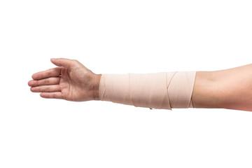 Medicine bandage on human arm isolated