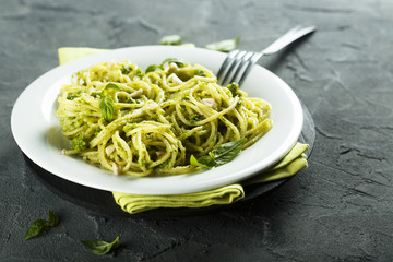 Pasta with fresh homemade pesto sauce