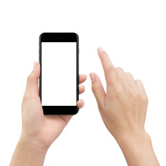 hand touching smartphone screen isolated on white, mock up phone