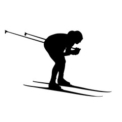 Cross-country skiing, downhill. Vector silhouette