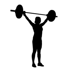 Woman standing and holding barbell over her head. Bodybuilding,