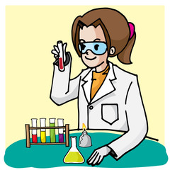 scientist cute vector character