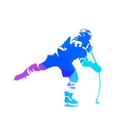 Shooting ice hockey player, abstract blue vector silhouette