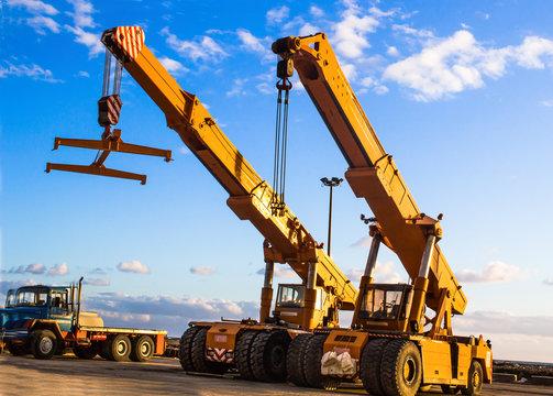 auto crane on construction site