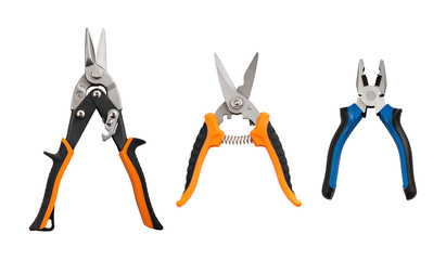 Opened pliers and nippers on the white background with clipping path