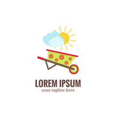 Garden tools logo. Green garden wheelbarrow with red flower drawing, clouds and sun.Flat cartoon style vector illustration