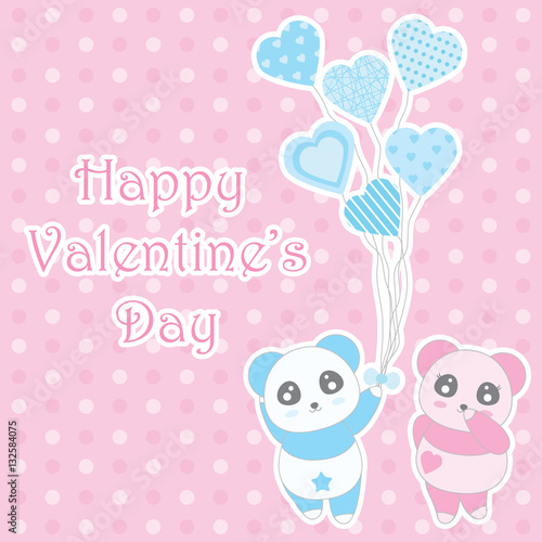 Valentine S Day Illustration With Cute Boy And Girl Panda