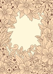 Floral frame. Hand-drawn flowers and leaves, doodle art.