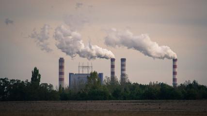Konin, Poland. Working power station, smoking chimneys.