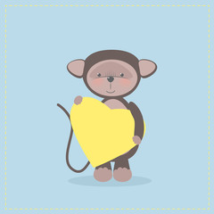 Monkey holding a heart. Plush toy monkey with heart. Gift. Postcard on Valentine's Day, birthday, Mother's Day. Vector cartoon