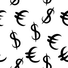 Black dollar and euro money same sizes. Seamless pattern. Vector illustration