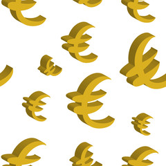 Gold euro money different sizes. Seamless pattern. Vector illustration