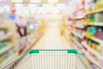 Supermarket aisle with shopping cart blur background