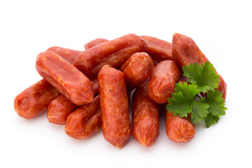 Peperoni or salami, parsley sausage. Isolated on white backgroun