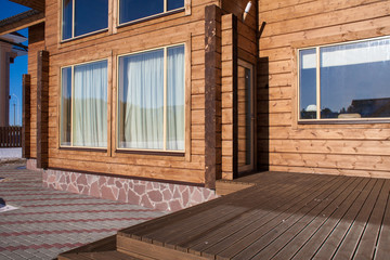 Terrace of a new wooden house.
